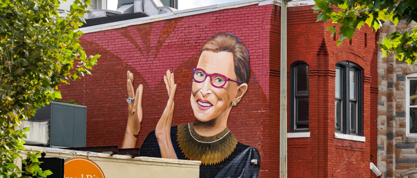 Ruth Bader Ginsburg mural on U Street NW, Washington, DC USA - Artist Rose Jaffe IG:Rose_Inks