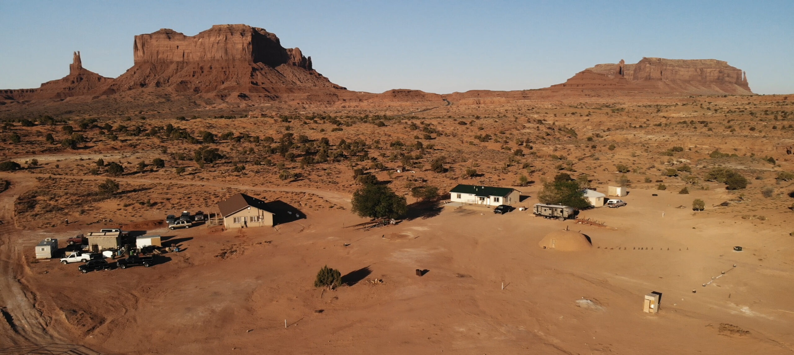 Village near the Oljato–Monument Valley in Arizona.  Ranch house. Aerial view, from above, drone shooting