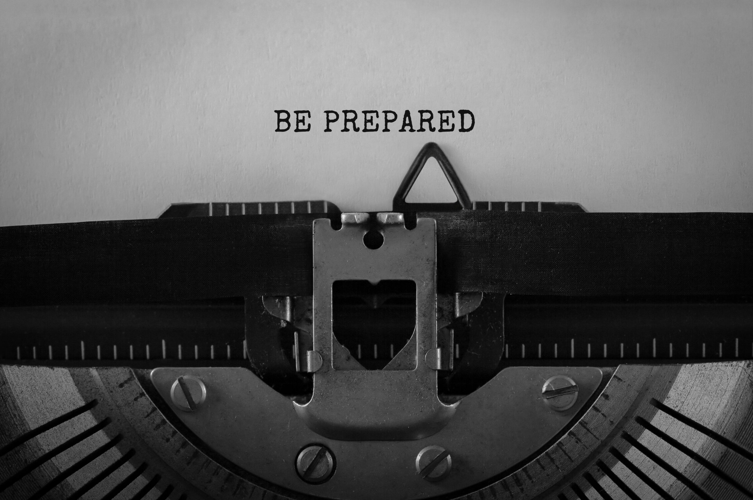 Text Be Prepared typed on retro typewriter
